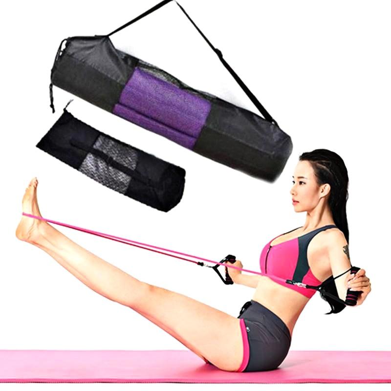 66 * 22cm Yoga Mat Bag Convenience Black Portable Case Nylon Pilates Carrier Mesh Adjustable Strap Yoga Tool (mat not including)