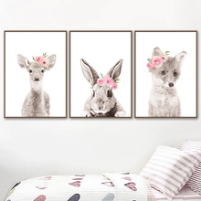Watercolor Animal Wall Art Canvas Painting Rabbit Deer Posters And Prints Flower Pictures  Nursery Baby Kids Room Decor