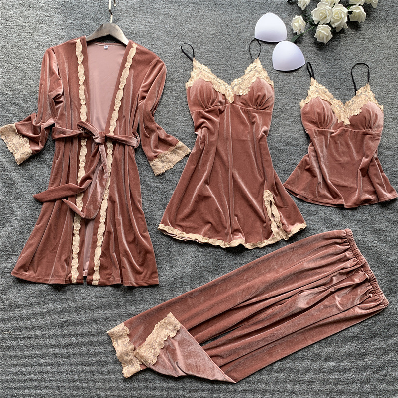 New 4PCS Women   Pajamas     Sets   with Pants Ladies Nightgown Bathrobe Sexy Pyjama Velvet Homewear Negligee Sleepwear Pyjamas Clothing