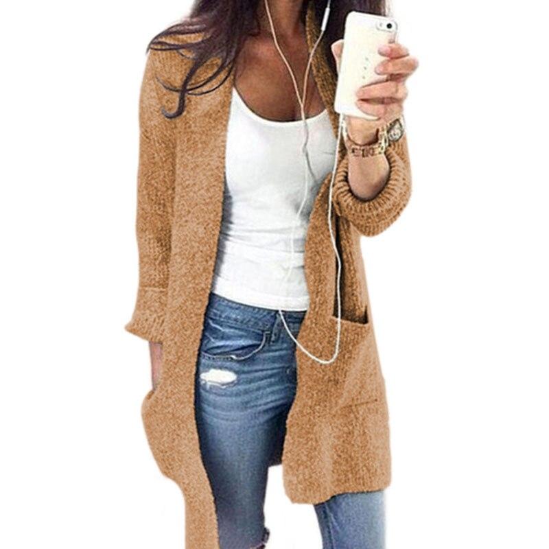 Hot Sale Winter Fashion Women Long Sleeve Knitting Cardigan Coat Casual Pocket Sweater Outwear Oversized Jacket Coat Tops 66630 Cardigans
