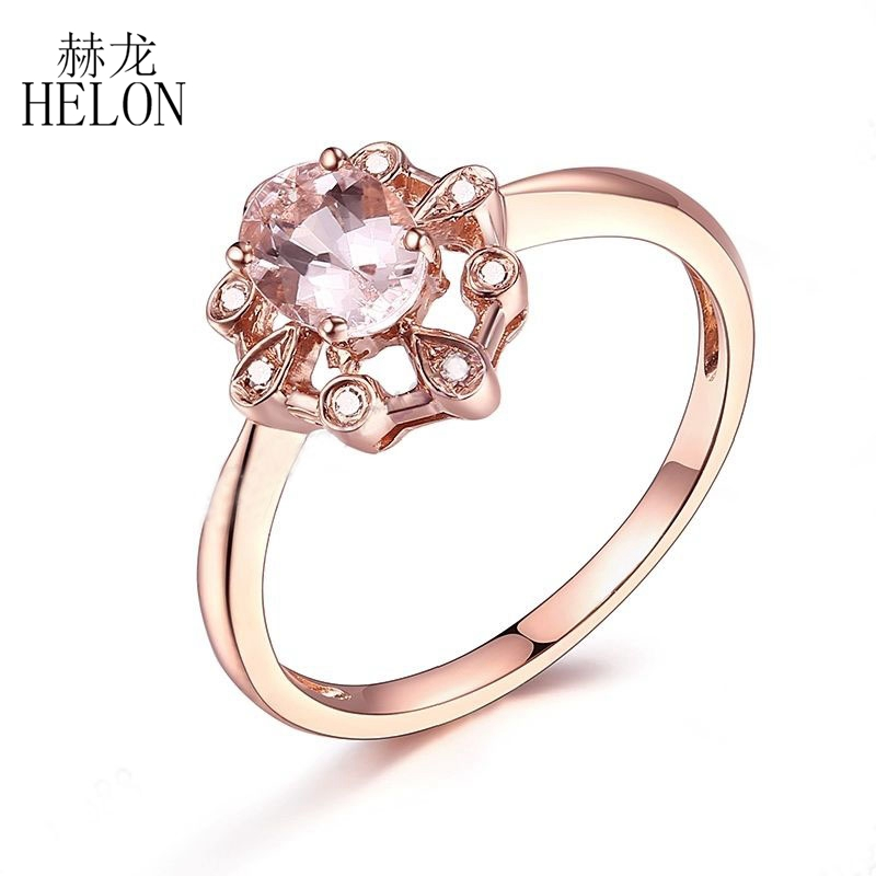 HELON Pave Natural Diamond Oval 6x4mm Morganite Ring Solid 10K Rose Gold Engagement Wedding Fine Jewelry Gemstone Diamonds Ring helon solid 10k rose gold oval cut 7x5mm morganite natural diamond ring engagement wedding gemstone ring gift jewelry setting
