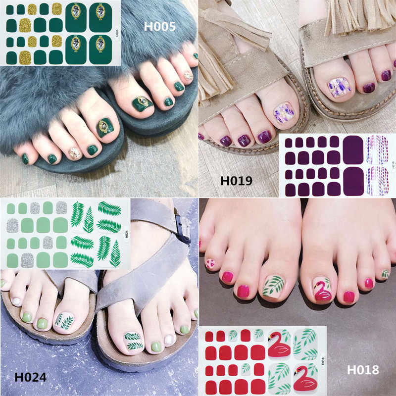 22tips/sheet Toe Nail Stickers Waterproof Fashion Toe Nail Wraps Nail Art Full Cover Adhesive Foil Stickers Manicure Decals