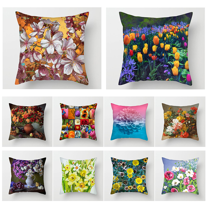 Fuwatacchi  Lily Tulip Daisy Throw Pillow Cover Oil Painting Flower Cushion for Home Chair Sofa Decorative Pillows 2019