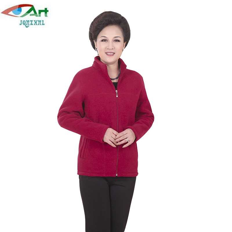 2019 New Winter Mid-aged Women Fleece Thickening Jackets Plus Size 5XL Casual Warm Jacket Zipper Outerwear for Mum JQNZHNL E212