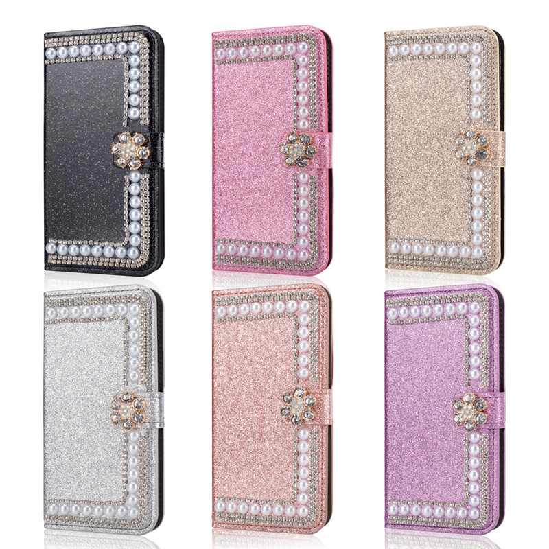 for <font><b>Samsung</b></font> galaxy M20 <font><b>M10</b></font> A70 A50 A40 A30 A20E A10 Glitter Diamond Pearl <font><b>Flip</b></font> <font><b>Wallet</b></font> <font><b>Leather</b></font> <font><b>case</b></font> Sparkle <font><b>Stand</b></font> Silk phone bag image