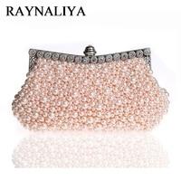 Day Clutch Beaded Women Evening Bags Diamonds Metal Small Handbags Imitation Pearl Chain Shoulder Purse Bag