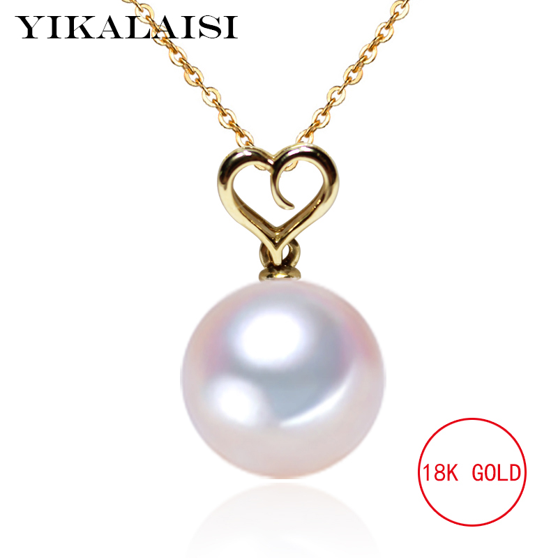 YIKALAISI G18k gold Pearl Jewelry 100% Natural Freshwater 11 12mm pearl pendant gold color choker pednant For Women