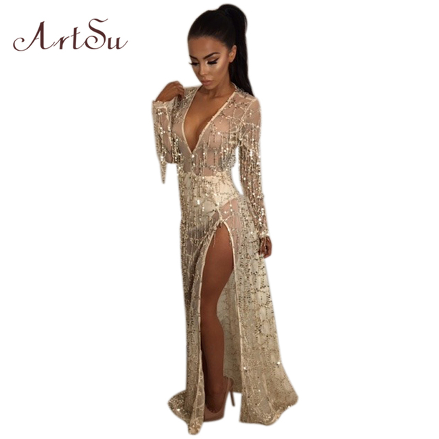 ArtSu Party Sequin Mesh Maxi Dress Long Sleeve Beach Robe Sexy Split V Neck Dresses  Tassel Club Vestidos Mujer ASDR30171 86fd7cbefb6c