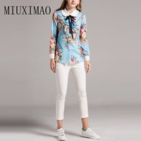 2018 Newest High Quality Fashion Blouse Turn down Collar Full Sleeve Floral Printed Bow Casual Shirt Elegant Fashion Tops