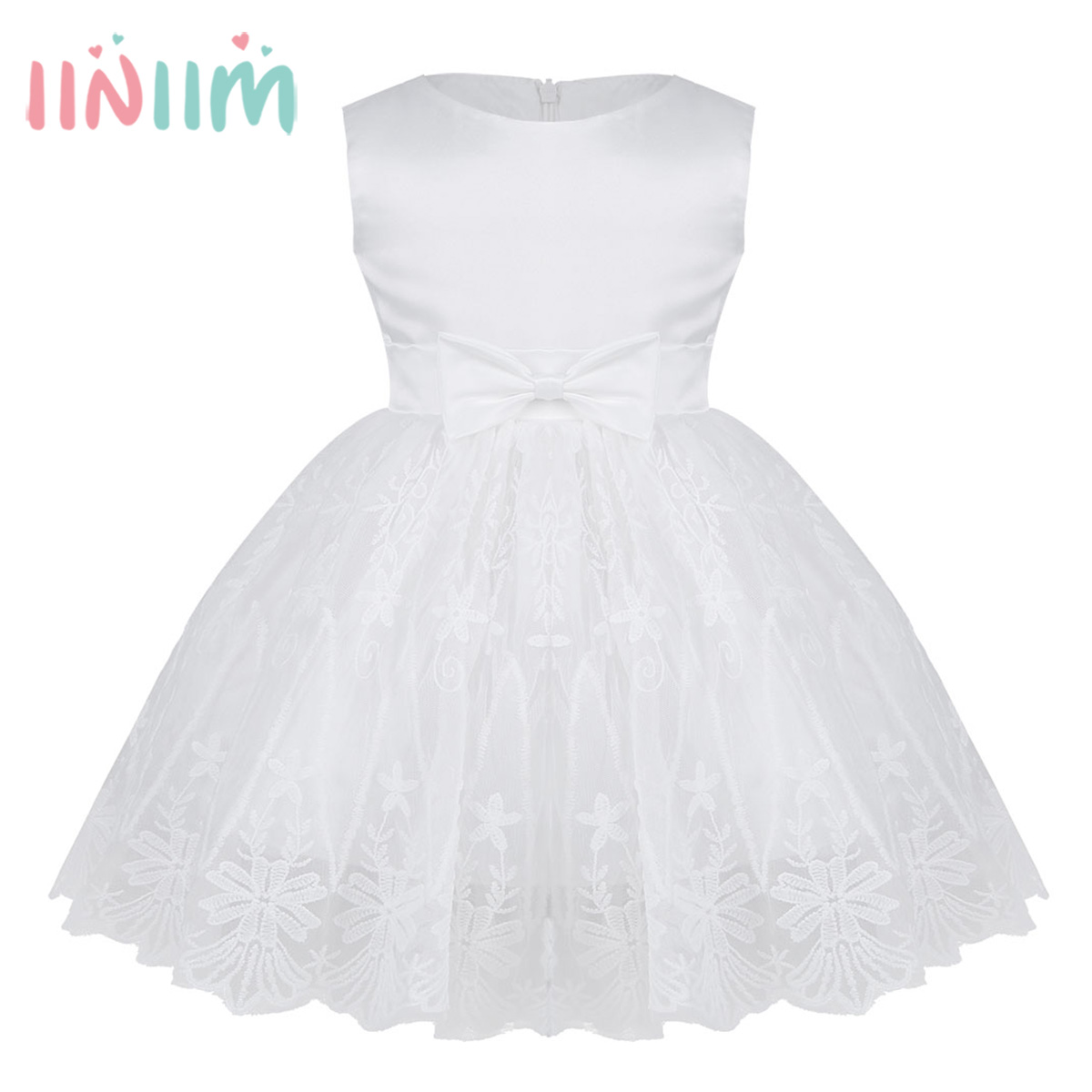 Infant Baby Girls Sleeveless Bowknot Floral Embroidered Girl Dress Baptism  Pageant Wedding Bridesmaid Birthday Party Tutu 20c770ffe374