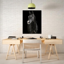 Laeacco Canvas Calligraphy Painting Black and White Print Horse Animal Posters Prints Nordic Wall Art Living Room Home Decor