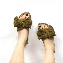 WADNASO New Fashion Summer Women Bowknot Cork Slipper Sandals Women Casual Beach Flip Flops Slides Shoe Flat With gold silver