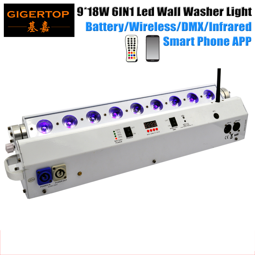 TIPTOP Smart Disco Black Uplights 9pcs 18W RGBAW UV 6in1 Battery Power Wireless DMX Led Bar Wall Washer Light DMX 6/10 CH