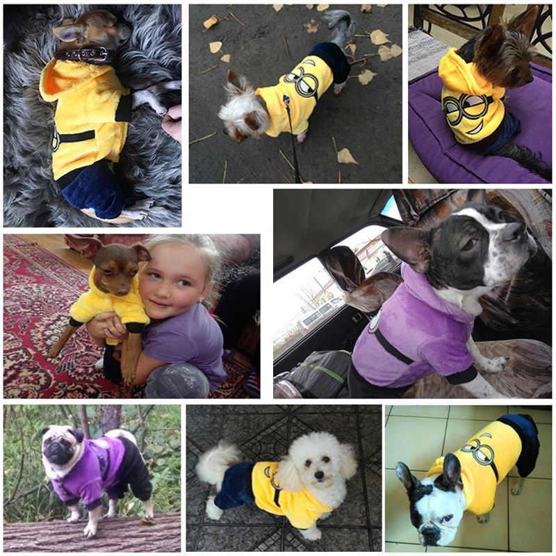 Ropa caliente para mascotas para perros pequeños ropa para perros de dibujos animados mono divertido disfraz mascota gato cachorro chaqueta de Abrigo con capucha Chihuahua ropa 3