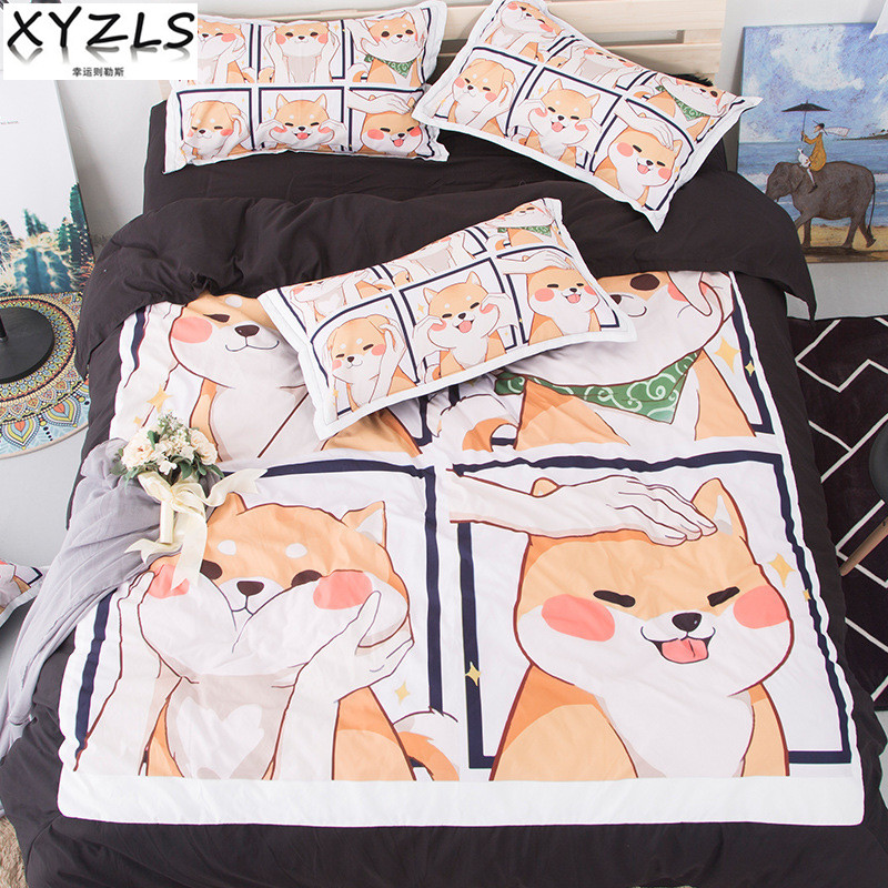 XYZLS Cute Shiba Inu Soft Cotton Bedding Set Queen Duvet Cover Sets Adults Kids Twin Full