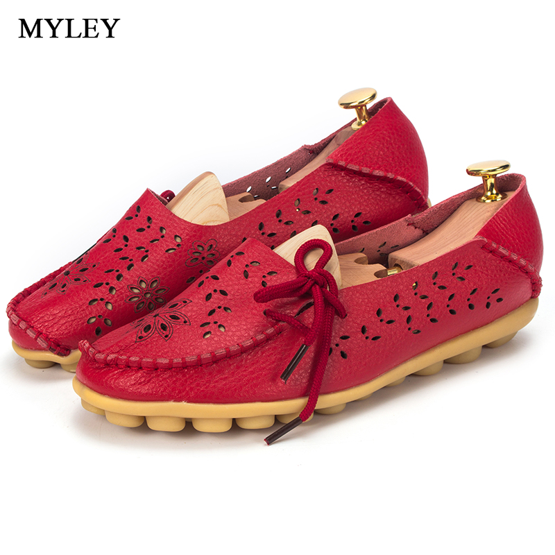 MYLEY Spring Autumn Hollow Slip On Flat Shoes Cut Out Ballet Genuine Leather Shoes Woman Flexible Round Toe Nurse Casual Loafer wolf who 2017 summer loafers cut out women genuine leather shoes slip on shoes for woman round toe nurse casual loafer moccasins