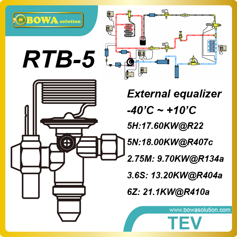 RTB-5 16.8kw(R410a) bi-flow thermostatic expansion valve is to separate the high pressure and low pressure sides 11kw heating capacity r410a to water and 4 5mpa working pressure plate heat exchanger is used in r410a heat pump air conditioner