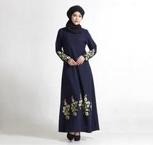 New flower print plus size turkish women abaya dress