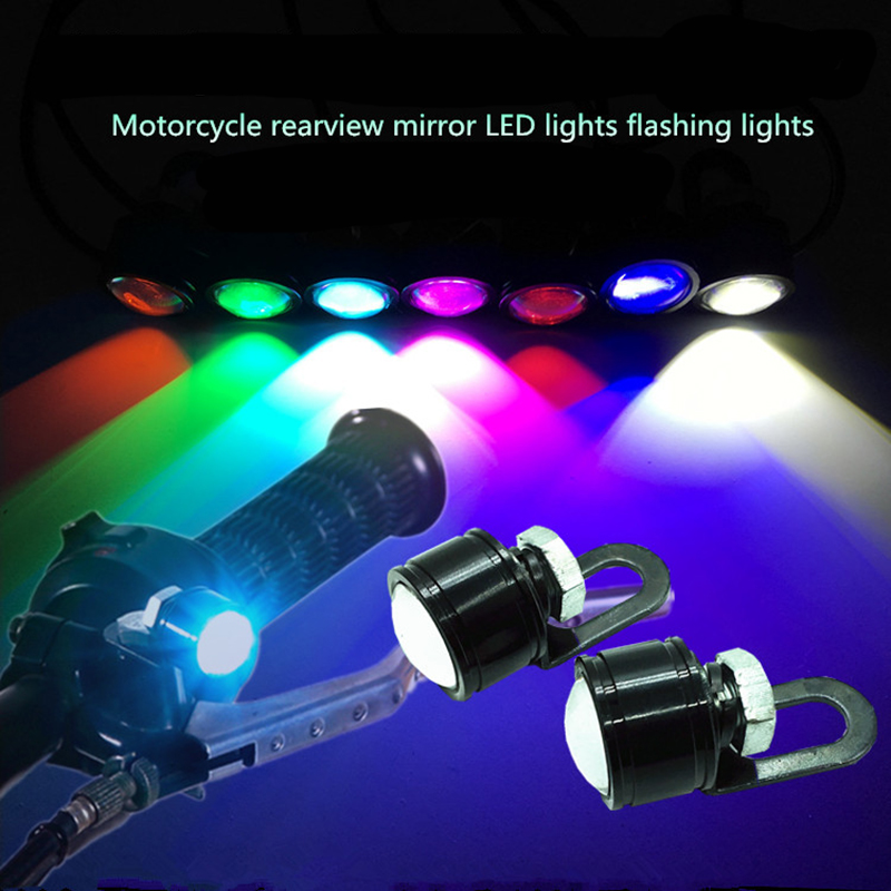 AEING 2pcs Waterproof Motorcycle Mirror Mount Car LED Daytime Running Fog Light Bulb DRL White/Red/Ice Blue/Pink/Green/Yellow