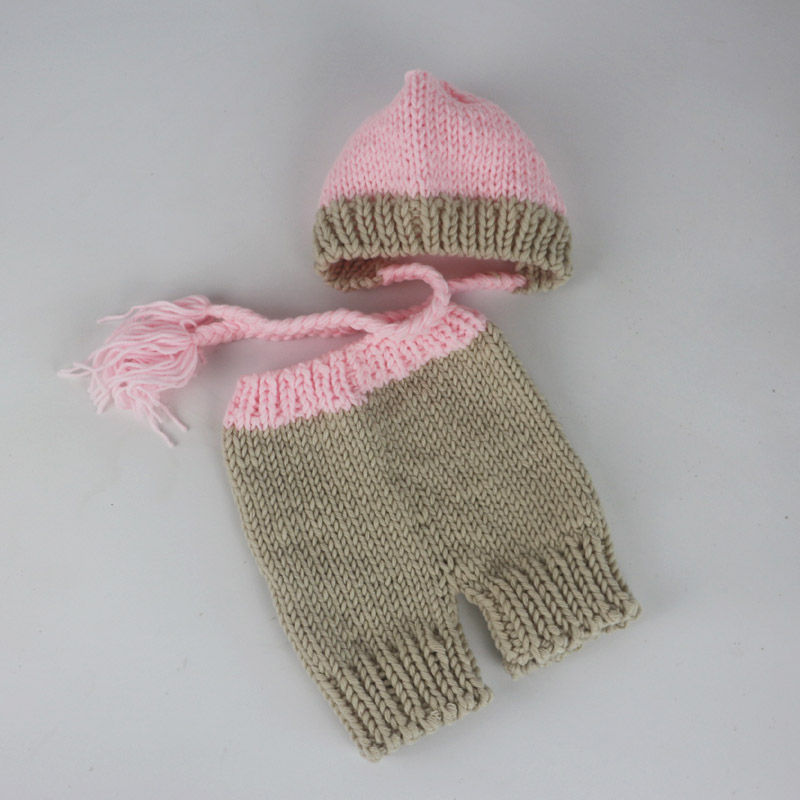 Infant girls photography pink long tail hats knit newborn beanie sets baby girls clothes newborn baby photo props