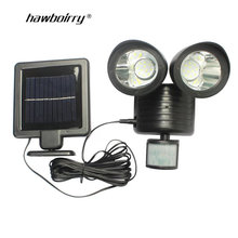 цена на 22 LED Dual Head Solar Light Radar Sensor Spotlight Waterproof Outdoors Solar Garden Light Super Bright Yard Flood LED Lamp