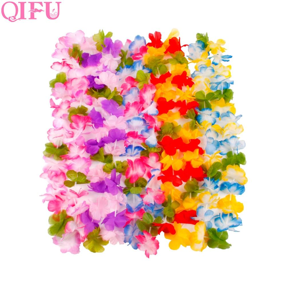 QIFU 10Pcs Hawaiian Party Artificial Flowers Leis Garland Necklace Hawaii Beach Flowers Luau Summer Tropical Party Decoration