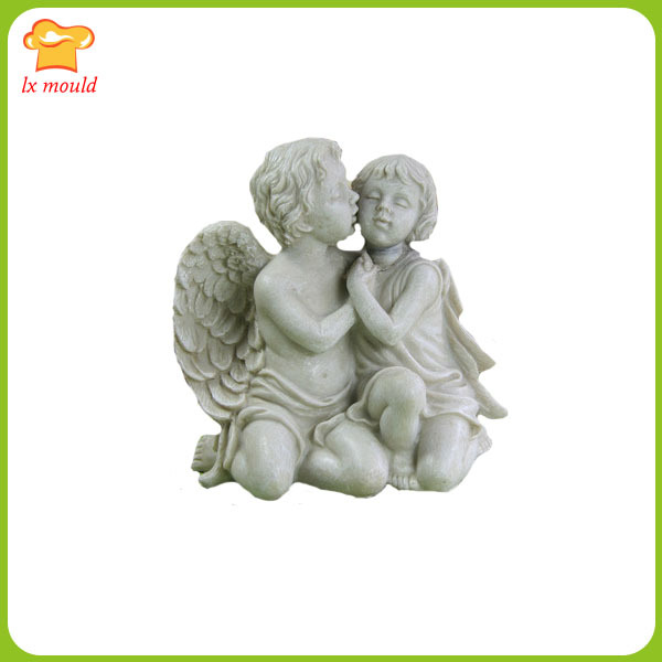 LXYY new Men and women kissing couples angel clay silicone mold candle mould soap wedding mould