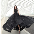 [XITAO] NEW summer beach style solid color organza lengthen form O-neck off the shoulder sleeveless female dress YMB-001