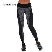 ROSAKINI Women Sexy Leggings Sports Paneled Plus Slimming Fitness Workout Black And Gray Yoga Pants Lady Gym Clothes Sportwear