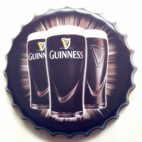 GUINNESS Large Beer Cover Tin Sign Logo Plaque Vintage Metal Painting Wall Sticker Iron Sign Bar KTV Store Decorative 40X40 CM