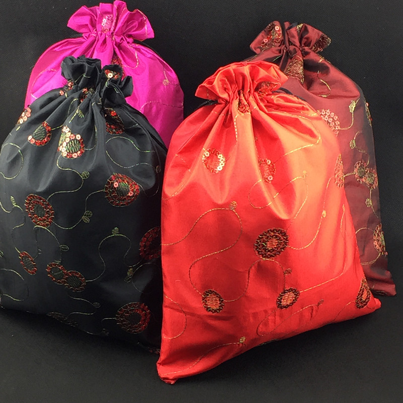 Drawstring 10pcs Large Fabric Christmas Pouches Gift Lined Wedding Extra With Bags Satin Packaging Sequin Party Favor