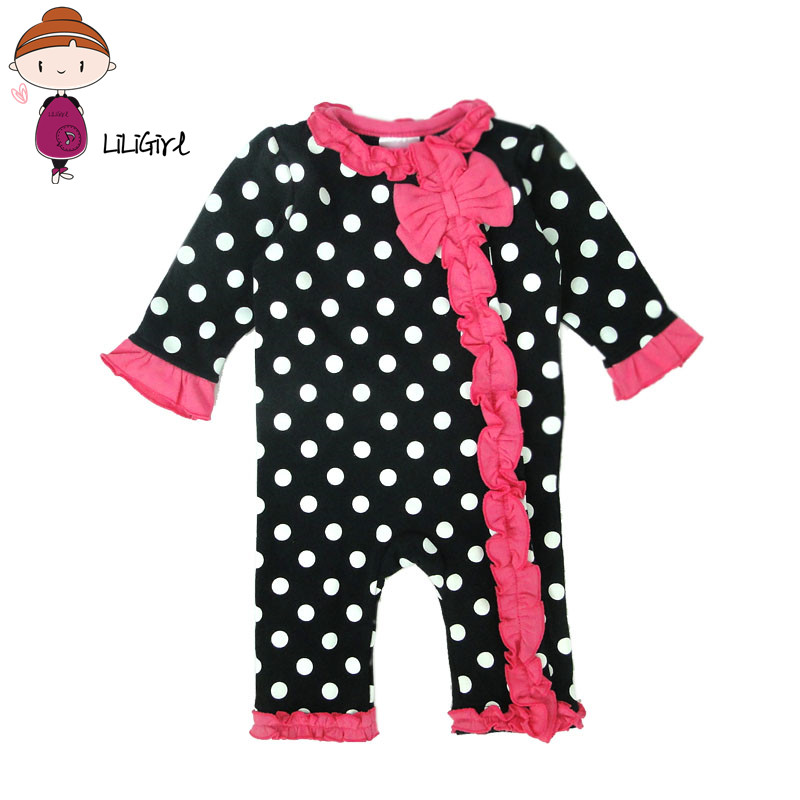 Cotton Baby Girl Rompers Polka Dot Long Sleeve Lace Girls Jumpsuit Spring Autumn Infant Baby Onepiece Clothes scalloped lace spliced polka dot briefs
