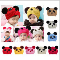 Lovely Cute Animal Panda Warm Woolen Baby Hats and Caps Kids Boy Girl Crochet Beanie Hat Winter Cap For Children HT02