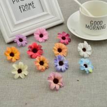 50 قطعة من الحرير الصغيرة الإقحوانات رخيصة الزهور الاصطناعية الكرمة الزفاف الديكور لتقوم بها بنفسك اكليلا صندوق حلوى اكسسوارات عباد الشمس وهمية