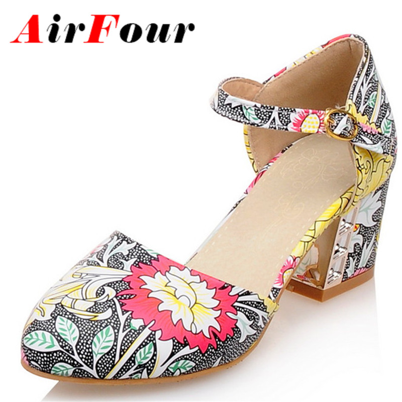 ФОТО Airfour New Sweet Ladies Shoes High Heel Square Heels Pumps Women Print Flowers Buckle Strappy Sandals Casual Shoes Woman