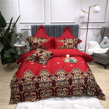 New Luxury Gold Lace Embroidery 60S Egyptian Cotton Wedding Bedding Set Red Blue Pink Duvet Cover Bed sheet/Linen Pillowcases