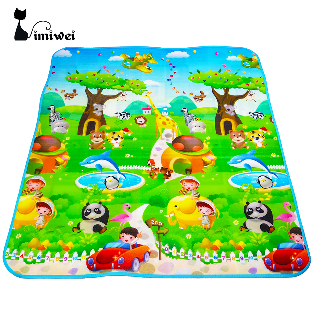 IMIWEI Brand Double Sided Animal Car+Fruit Letter Baby Play Mats Crawling Pad Kids Game Carpet <font><b>Toys</b></font> <font><b>For</b></font> Children Developing Rug