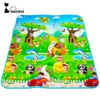 IMIWEI Marca Dupla Face Carro Animais + Carta de Frutas Crawling Pad Crianças Jogo Tapete Tapetes de Jogo Do Bebê Brinquedos Para As Crianças desenvolvimento de Tapete