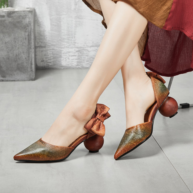 Women Leather Sandals 5 Cm High Heels Pointed Toe Lazy Shoes Summer Women Handmade Genuine Leather