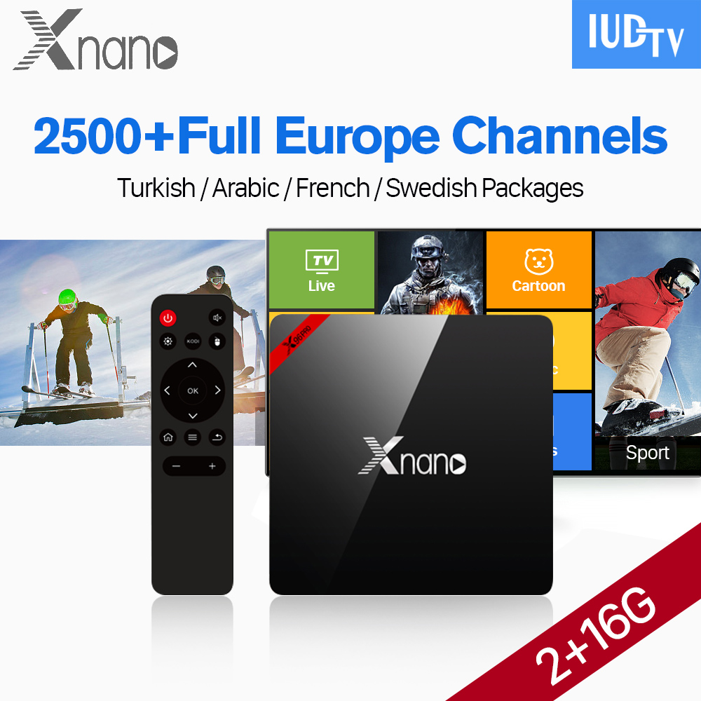 XNANO IPTV Swedish Box 2GB 16GB S905X Android 6.0 2.4G Wifi H.265 Media Player IPTV Spain Germany Italy Greece England VIP Sport germany england