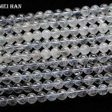 Meihan 도매 7.3 8mm (approx48pcs/40 그램/대) 천연 Topazz 부드러운 라운드 루즈 비즈 보석 만들기위한 귀중한 돌