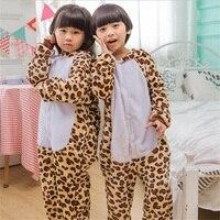 Cartoon Animal Tutina Per Bambini Ragazzi Ragazze Pigiama Leopardo Inverno Partito Caldo Vestito Zipper Bottoni Design Cappuccio A Maniche Lunghe Per Bambini