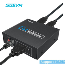 SGEYR 2 Port Splitter HDMI 1.3b splitter hdmi 1×2 Splitter HDMI 1 Em 2 Out + DC 5 V Suporte Switcher 1920×1080 P, 3D para HDTV