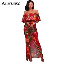 Ailunsnika 2017 New stylish fashion summer print dress strapless slim dress short sleeve vestidos mujer long maxi dress SC029