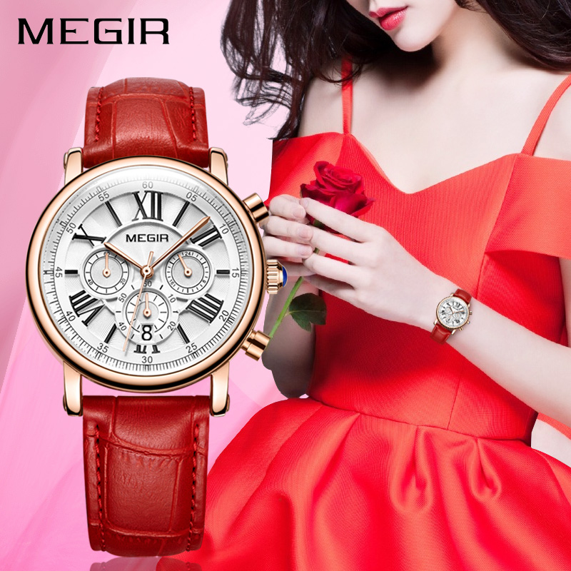 Luxury Brand MEGIR Chronograph Sport Watches Women Bracelet Relogio Feminino Ladies Lovers Quartz Wrist Watch Clock Women 2058 zivok fashion brand women watches luxury red lovers bracelet wrist watch clock women relogio feminino ladies quartz wristwatch