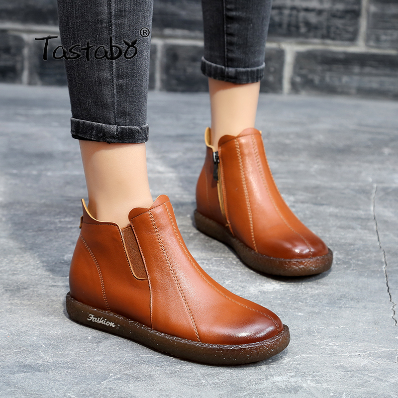 Tastabo Boots Women Genuine Leather Ankle Boots Shoes Woman Autumn Handmade Lady soft Flat shoes Casual Women's shoes korff средство двухфазное для снятия макияжа 150 мл