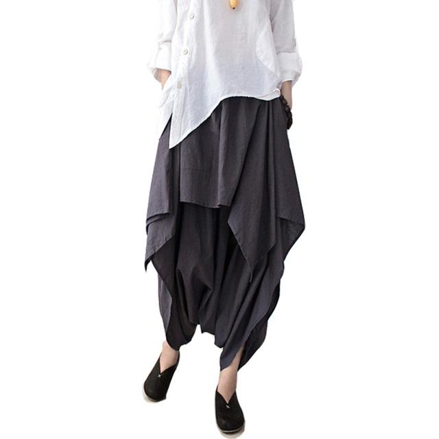 SERENAMENTE 2016 Mulheres Calças de Linho de Algodão Babados Mulheres Camuflagem Calça Casual Calças Harem Pants Mulheres Calças Pantalon Femme WomenS66