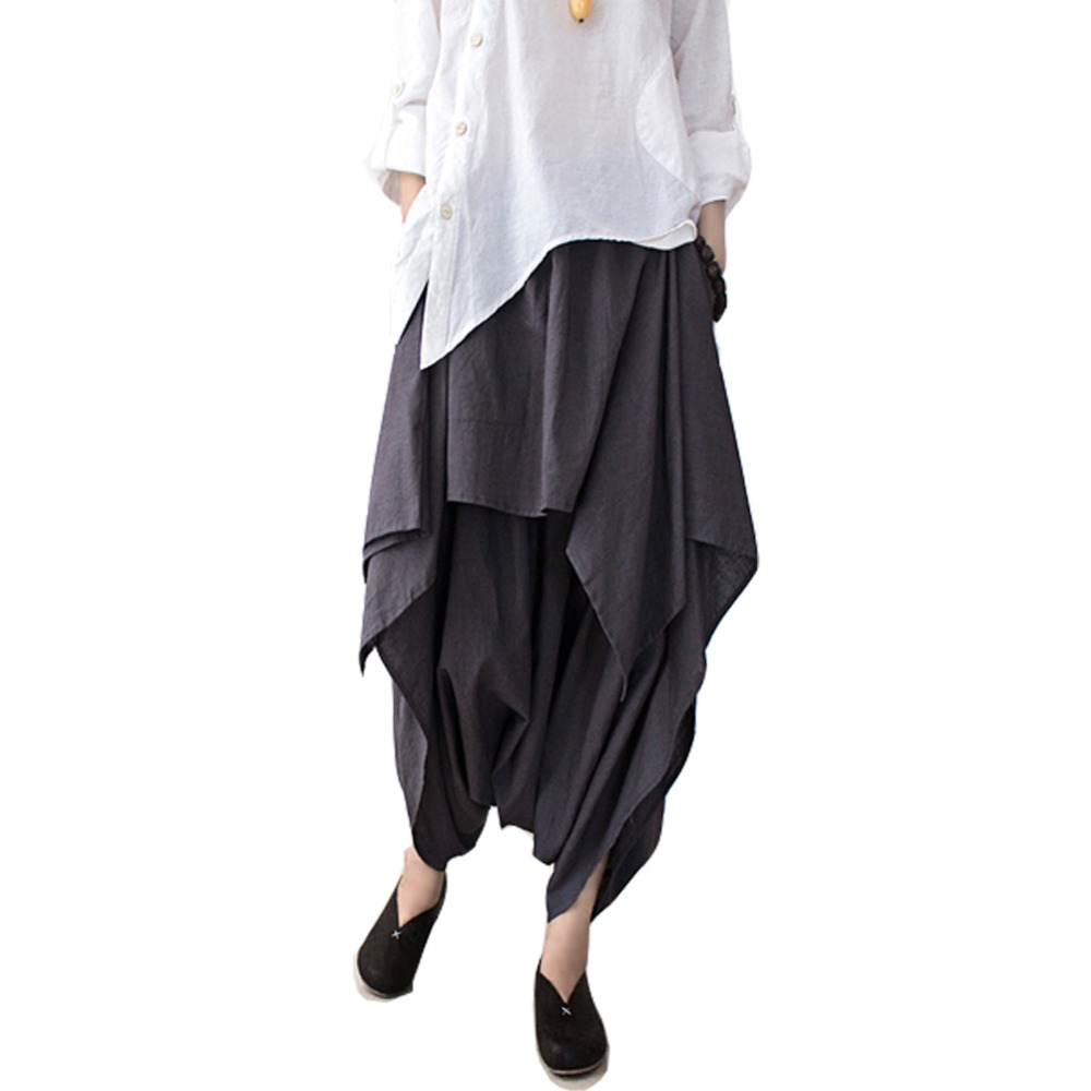 Unique  Leg Slacks Cotton Linen Loose Pants Harem Pants Women Trousers PL015