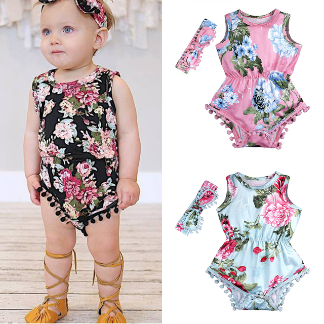 e1676297cac7 2PCS Cute Baby Rompers +Headband Summer Ruffled Flower Girls Costumes Set  2018 New Kids Jumpsuit Cotton Floral Romper Suits