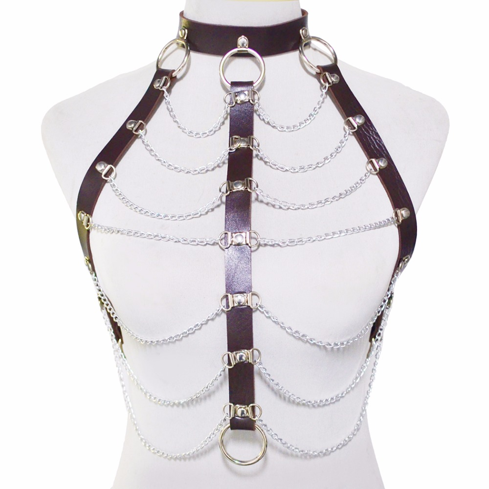 Women Sexy Locked Collar Chain Leather Bondage Bra Cupless.